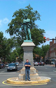 Craig with Appomattox, by M. Casper Buberl (1889), at the intersection of Washington and Prince Streets in Old Town Alexandria.  The statue, which marks the spot from which Confederate soldiers marched south when Virginia seceded from the Union and was occupied by federal troops on May 24, 1861, was erected by the R. E. Lee Camp of the United Confederate Veterans on May 24, 1889, and may not be removed under state law.