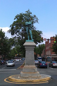 Appomattox, by M. Casper Buberl (1889), at the intersection of Washington and Prince Streets in Old Town Alexandria.  The statue, which marks the spot from which Confederate soldiers marched south when Virginia seceded from the Union and was occupied by federal troops on May 24, 1861, was erected by the R. E. Lee Camp of the United Confederate Veterans on May 24, 1889, and may not be removed under state law.