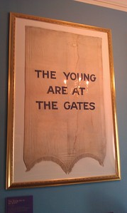 """The Young Are at the Gates"" banner at the Sewall-Belmont House & Museum (8/20/11)"