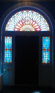 Stained glass at the front entrance to the Sewall-Belmont House & Museum (8/20/11)