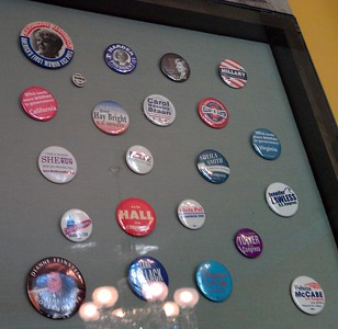 Campaign buttons of female candidates for U.S. Congress, at the Sewall-Belmont House & Museum (8/20/11)