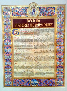 Illuminated deed to the first headquarters of the National Woman's Party (which required the owner to employ only women), now on display at the Sewall-Belmont House & Museum (8/20/11)
