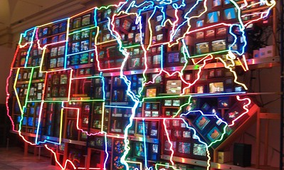 Electronic Superhighway: Continental U.S., Alaska, Hawaii, by Nam June Paik (1995), at the Smithsonian's American Art Museum. (4/3/11)