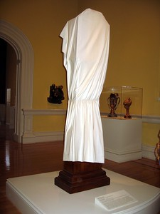 Ghost Clock, by Wendell Castle (1985), at the Smithsonian American Art Museum's Renwick Gallery.  Although it appears to be a grandfather clock draped with a cloth, it is actually carved entirely out of a single block of mahogany. (4/3/11)
