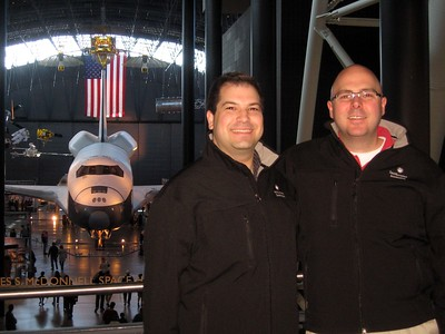 Craig and DJ in front of Space Shuttle Enterprise, at the Smithsonian's National Air and Space Museum Steven F. Udvar-Hazy Center (3/20/11)