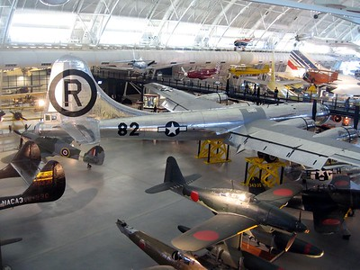 The Enola Gay (the silver plane) at the Smithsonian's National Air and Space Museum Steven F. Udvar-Hazy Center (3/20/11)