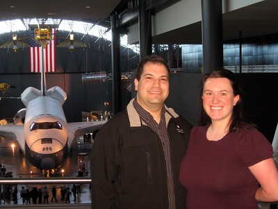 Craig and Emily in front of Space Shuttle Enterprise, at the Smithsonian's National Air and Space Museum Steven F. Udvar-Hazy Center (3/20/11)