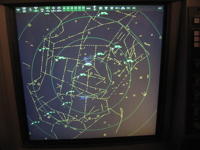 Simulation of an air traffic control screen at the Smithsonian's National Air and Space Museum Steven F. Udvar-Hazy Center (3/20/11)