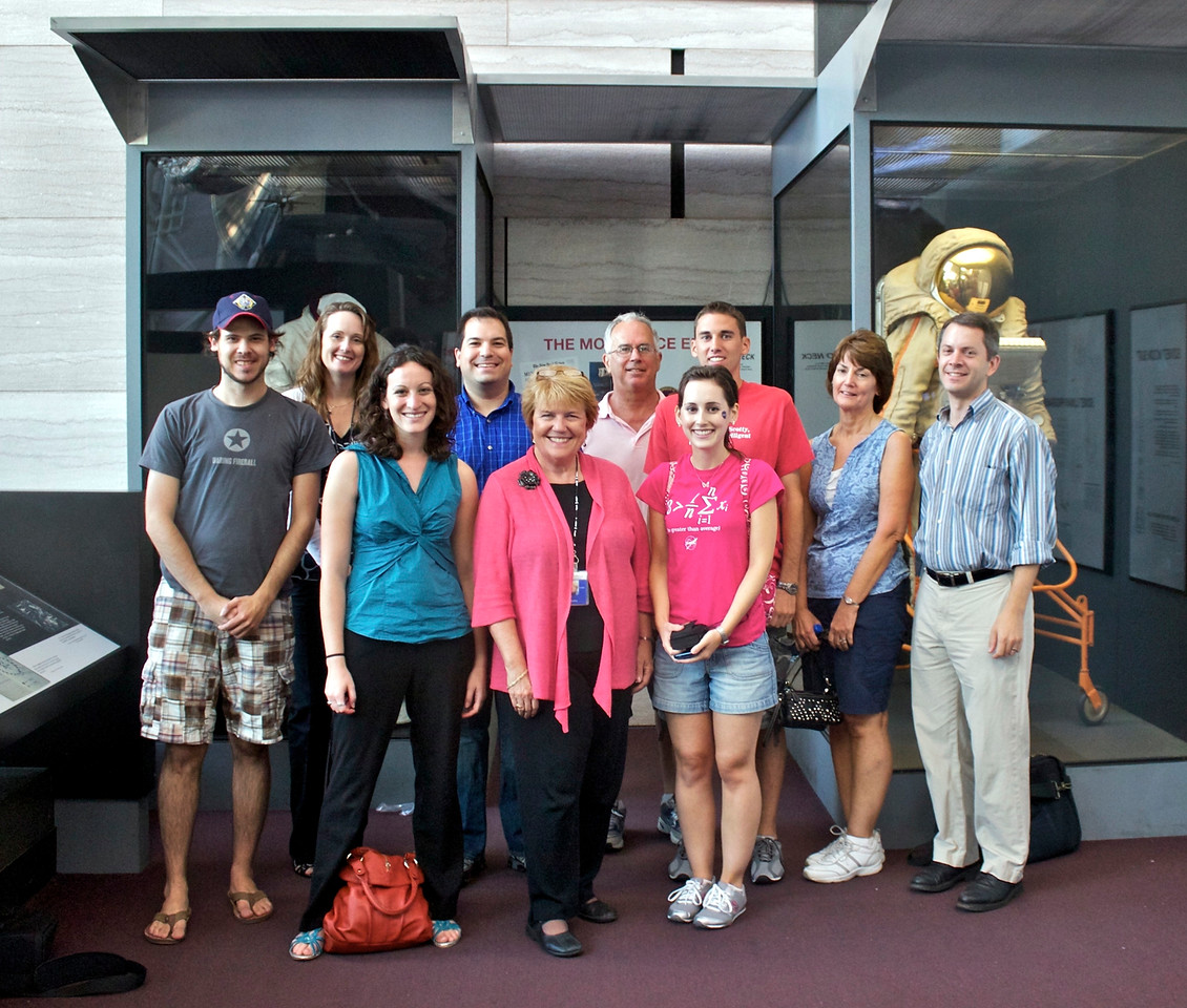 """(from left) @jaredwsmith; Vicki Portway (Manager of the NASM Web & New Media Division and @sluggernova; @museums365; @CraigFifer; Valerie Neal (curator of the NASM Post-Apollo Human Spaceflight Collection); @KelleyApril and family; and @robpegoraro; at the Smithsonian's National Air and Space Museum (NASM) for a """"tweeunion"""" of space tweeps (8/8/11)"""
