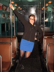 Asha rides a Chicago Transit Authority Rapid Transit Rail Car in the America on the Move exhibit at the Smithsonian's National Museum of American History (2/20/11)