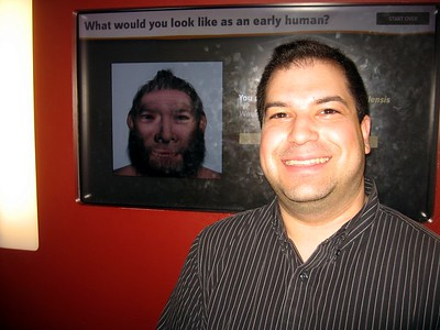 Craig uses an interactive kiosk to see what he would have looked like as a Homo neanderthalensis, in the David H. Koch Hall of Human Origins at the Smithsonian's National Museum of Natural History.  Sadly, evolution hasn't helped much. (3/6/11)
