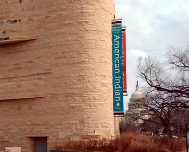 The Smithsonian's National Museum of the American Indian in the foreground, with the United States Capitol in the background (2/13/11)