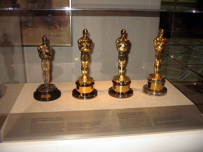 Katharine Hepburn's record four Academy Awards for Best Actress (Morning Glory (1933), Guess Who's Coming to Dinner (1967), The Lion in Winter (1968), and On Golden Pond (1981)), on display at the Smithsonian's National Portrait Gallery. (4/3/11)