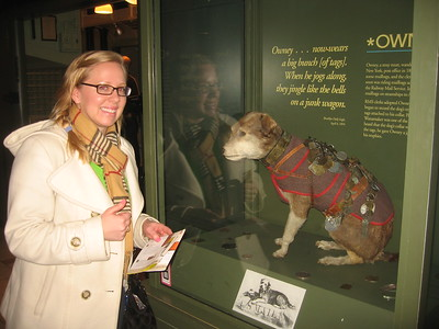 Katharine isn't sure what reaction to have to Owney (an actual stuffed dog), in the Moving the Mail exhibit at the Smithsonian's National Postal Museum (2/5/11)