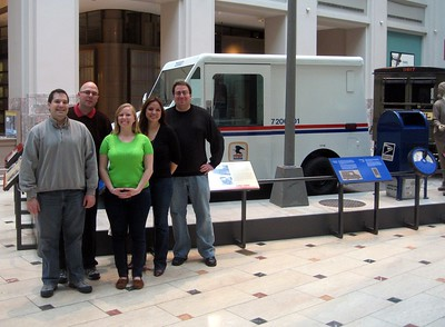 In front of a 1986 Long Life Vehicle in the Moving the Mail exhibit at the Smithsonian's National Postal Museum (2/5/11)