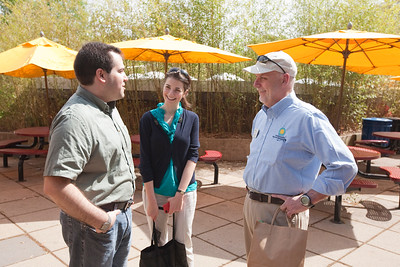 Craig (l) chats with Sarah Taylor from the Smithsonian's Office of Public Affairs and National Zoo Director Dennis Kelly.  Photo by Alex Perry. (4/23/11)
