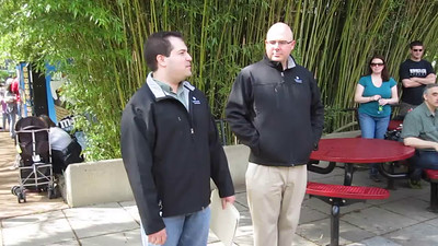 Sarah Taylor, from the Smithsonian's Office of Public Affairs, introduces National Zoo Director Dennis Kelly to give an overview of the Zoo's mission and congratulate Craig and DJ on completing the quest. Video by David Fifer. (4/23/11)