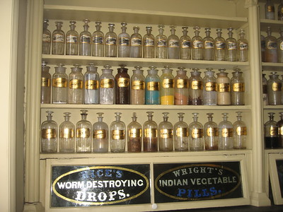 Sales floor of the Stabler-Leadbeater Apothecary Museum.  The bottles contain the actual contents they held when the shop closed in 1933. (3/27/11)