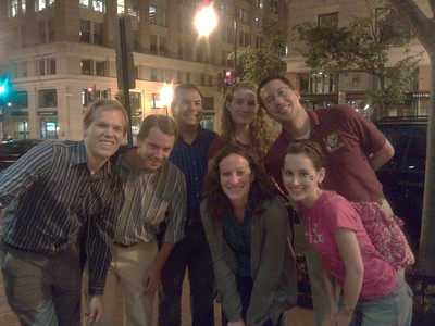 (from left) @jonverve; @robpegoraro; @CraigFifer; @museums365; @stephonee; @MatthewJLB; and @KelleyApril; outside Oyamel