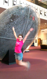 @KelleyApril reenacts the launch of Apollo 11 in front of its Command Module, Columbia, in the Milestones of Flight exhibit at the Smithsonian's National Air and Space Museum