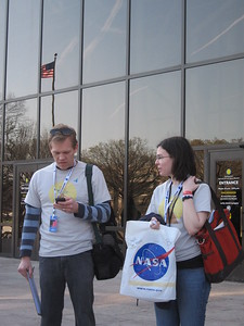 Red Team leaders Jon and Genna, on the steps of the National Air and Space Museum