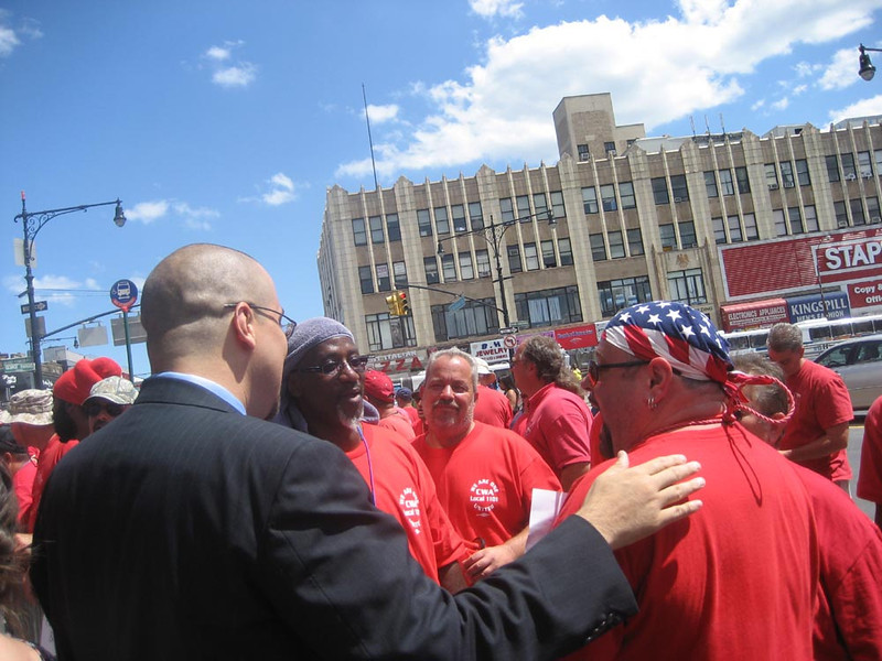 Senator Gustavo Rivera (left) visits a picket line in the Bronx (photographer unknown).