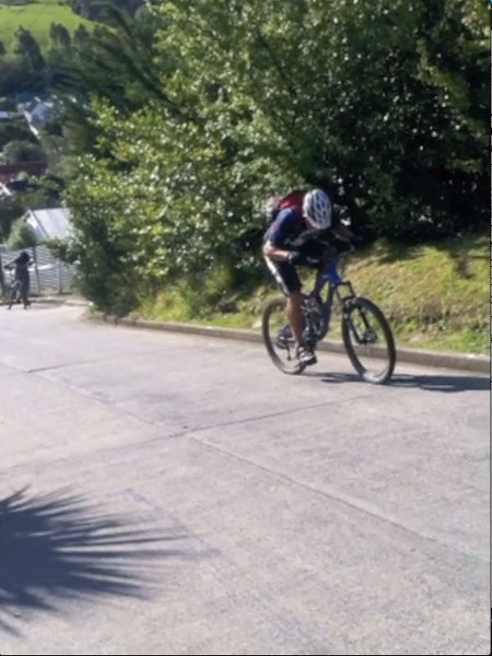 Cycling up the steepest street in the world.