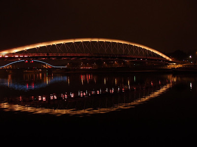 Night view of Vistula River Cracow december 2011