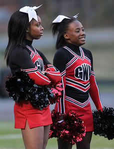 GWU Cheerleaders getting pumped before the game.