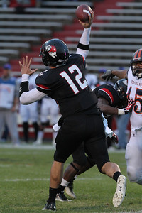 Quarterback, Chandler Browning, throws the ball.