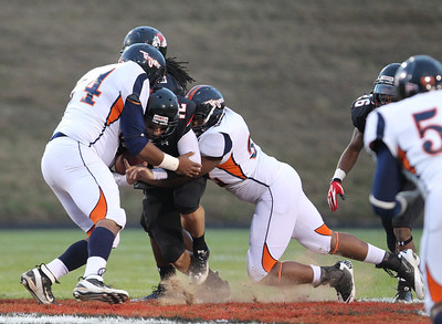 Quarterback, Chandler Browning, tackled by Virginia State.