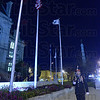 Tribune-Star/Jim Avelis<br /> Standing vigil: Junior ROTC Cadet Major Cody Moore takes his turn standing vigil in front of the veteran's plaza at the Vigo County Courthouse Thursday night.