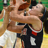Tribune-Star/Jim Avelis<br /> Hacked: Terre Haute North guard Lindsay Clark draws a foul on a shot attempt from the paint.