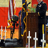 Tribune-Star/Jim Avelis<br /> Veteran: Indiana Army National Guard Lt. Col. Bill Latta was the keynote speaker at  the Veteran's Day observance at Chauncey Rose Middle School.