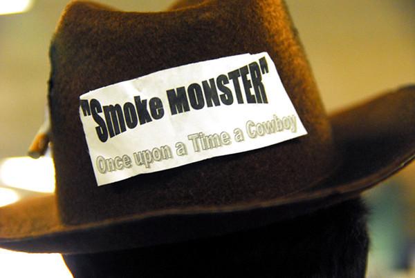 Smoke monster: Detail photo of Marlboro man hat.