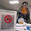 Marlboro man: Dr. Chandra Reddy portrays the Marlboro man during his Thursday visit to the Regional Hospital cafeteria.