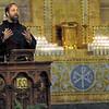 Welcome: fr. John Bamman welcomes those attending Sunday's Thanksgiving Sing Praise at St. Joseph's Catholic Church.