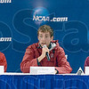 Tribune-Star/Joseph C. Garza<br /> Ready to run: Stanford's Chris Derrick, center, answers a question from the media as Oklahoma State's Colby Lowe, Wisconsin's Maverick Darling, Iona's Leonard Korir and Arizona's Lawi Lalang listen Sunday on the Indiana State campus.