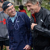 Tribune-Star/Joseph C. Garza<br /> Pre run fun: Dr. Gary Fitzgerald jokes with Olympian Frank Shorter before the start of a community run Sunday at Memorial Stadium.