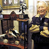 Trophy time: James Buechler proudly displays some of his world Championship trophies in his North Terre Haute area home.
