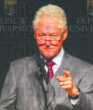 """Tough choices: In delivering his talk """"Embracing our Common Humanity"""" Bill Clinton referenced the movie """"Sophie's Choice"""". His poiont was, sometimes we have to make tough decisions. The venue was the campus of Depauw University in Greencastle."""