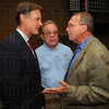 Tribune-Star/Jim Avelis<br /> Here to help: Evan Bayh chats with councilman Pat Ralston and Terre Haute mayoral candidate Fred Nation at a Democrat gathering Friday evening.