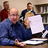 Tribune-Star/Joseph C. Garza<br /> Proof: Embattled city councilman Norm Loudermilk discusses how he obtained the McCullough & Co. financial audit during a press conference Friday at City Hall to address accusations about the Terre Haute Training Academy.