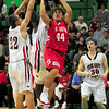 Runner: South's #44, Lucas Steward takes a runner against several North defenders Friday night at West Vigo's gym.