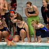 Tribune-Star/Joseph C. Garza<br /> Go!: Terre Haute North's Maria Kline is cheered on by her teammates as she competes in the 200-yard individual medley during the Patriots' Quad dual Saturday at North.