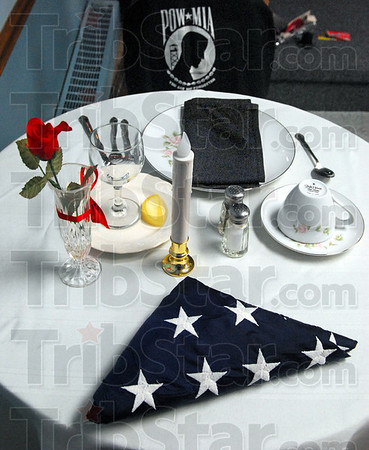 Table: Detail photo of Missing in Action/Prisoner of War table at Post 346 Legion facility.