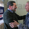 Welcome: Fred Nation welcomes Democrat candidate for Senate Joe Donnelly to his campaign headquarters Saturday afternoon.