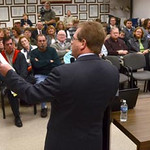 Tribune-Star/Joseph C. Garza<br /> His plan for the future: Jim Mann discusses his platform before an audience of about 40 people Wednesday at the Vigo County Annex. Mann announced his candidacy for the Indiana House District 46 representative Wednesday.