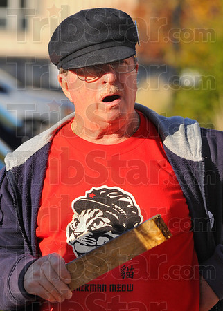 Tribune-Star/Jim Avelis<br /> Occupied territory: John Kite was one of about 15 demonstrators at the Occupy Terre Haute rally Monday evening.