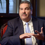 Tribune-Star/Joseph C. Garza<br /> In the home stretch: Duke Energy President Doug Esamann discusses the progress of the company's Edwardsport project during a press conference Tuesday at the Terre Haute Country Club.